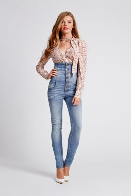 fe8490b0a6 Corset Skinny Jeans in Mellow Blue Wash