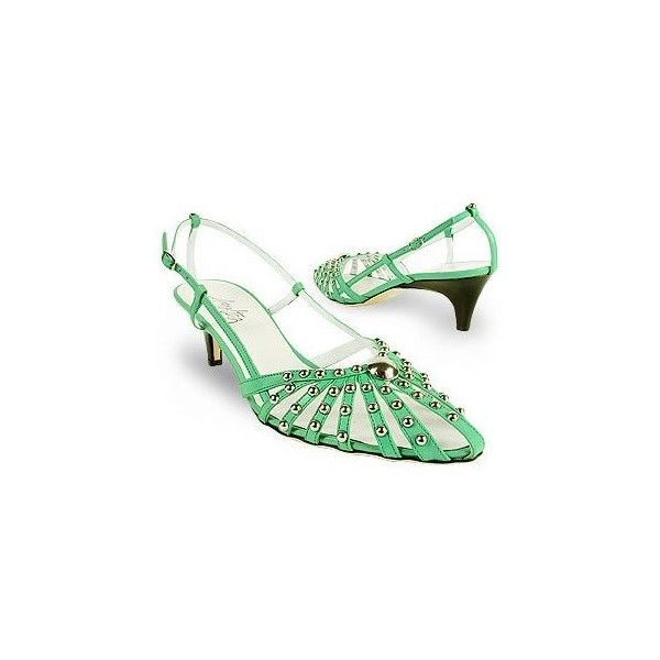 Amaltea Mint Studded Strappy Leather Pump Shoes ($108) ❤ liked on Polyvore featuring shoes, pumps, green, heels, leather shoes, studded shoes, mint green pumps, pointy shoes and green pumps