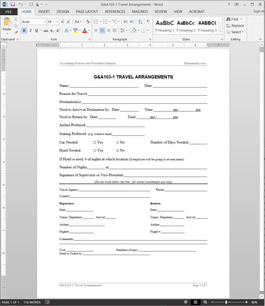 Travel Arrangements Request Template G A103 1 In Travel Request Form Template Word Best Sample Template Templates Household Budget Template Box Template Travel policies and procedures template