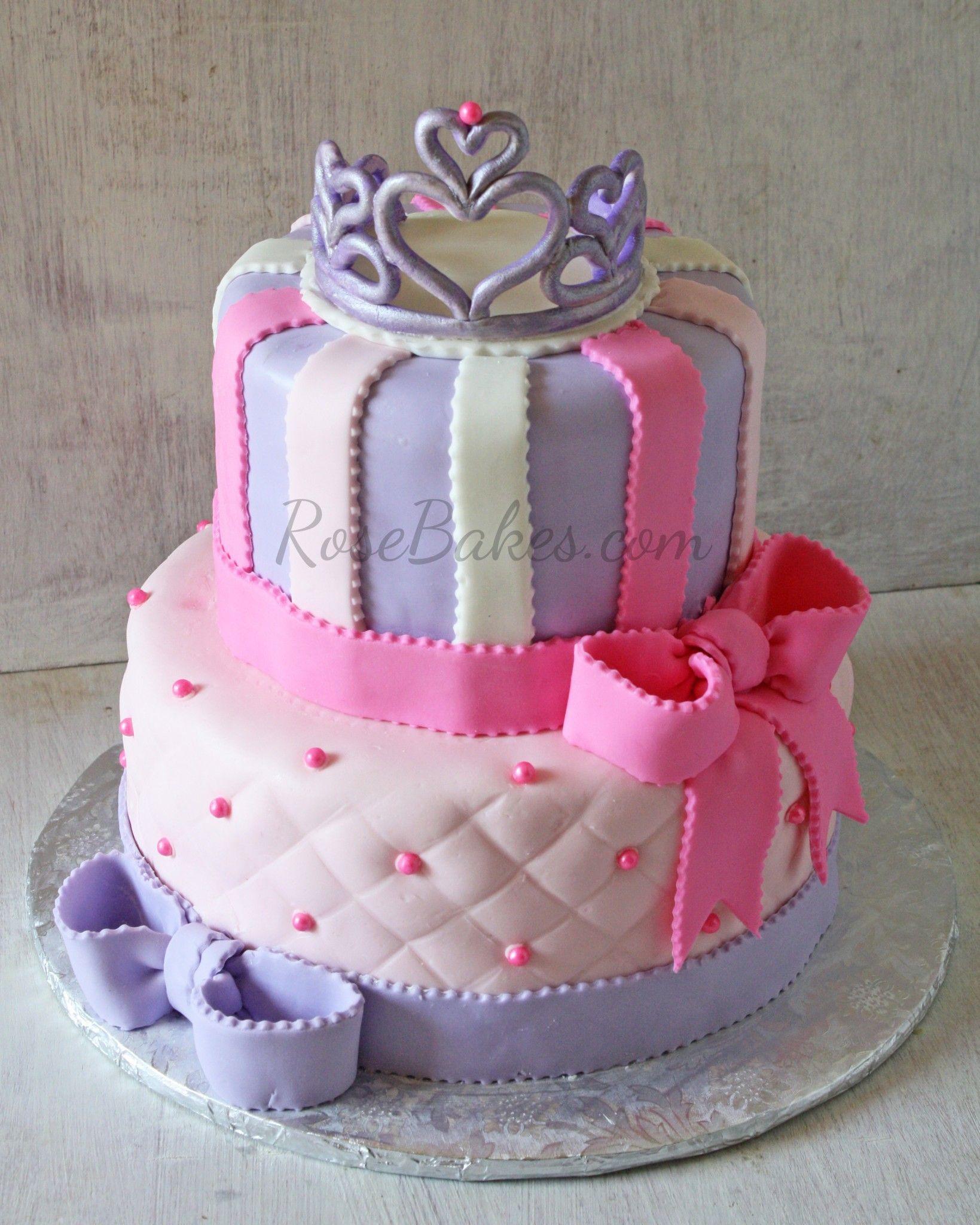 Tiara And Bows Princess Cake Cake - Cakes for princess birthday