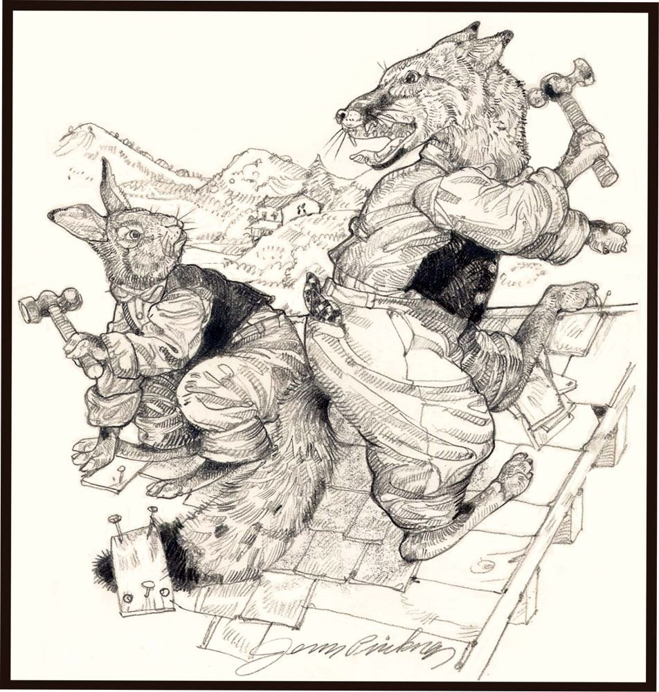 Jerry Pinkney original pen and ink drawing that appears in his edition of More Tales of Uncle Remus by Joel Chandler Harris