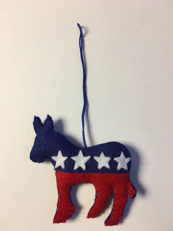 Democrat Donkey Felt Ornament