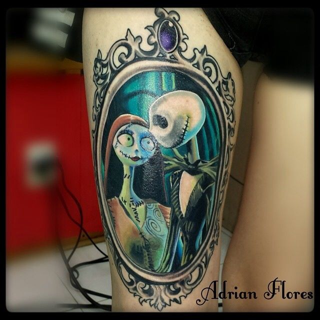 My Thigh Piece Done By The Amazing Adrian Flores Here In San Antonio Texas Rebecca Lynne Is Me Follo Jack Tattoo Christmas Tattoo Jack Skellington Tattoo
