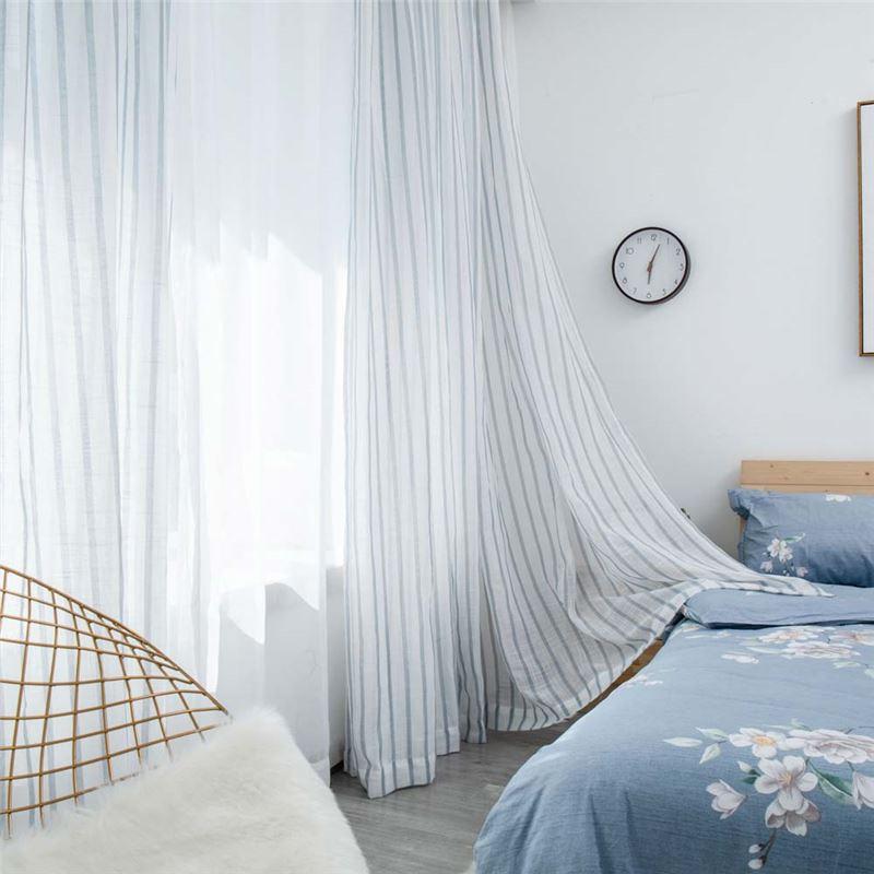 Vertical Stripes Sheer Curtain Japanese Linen Sheer Curtain Living