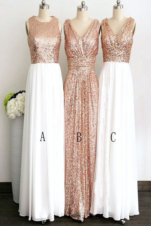 Rose gold long elegant pretty charming bridesmaid dresses k