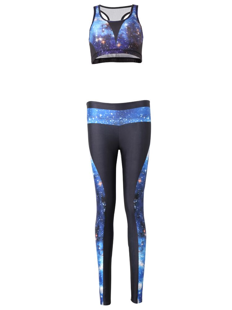 f1f01b47419 Sale 21% (24.69 ) - Women Starry Sky 3D Printed Yoga Gym Two Pieces Set  Tracksuit