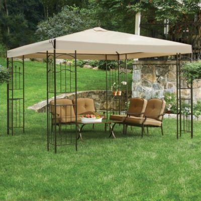 Sunjoy Gazebo With Corner Shelves Patio Landscaping Around Patio Gazebo