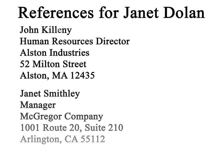 sample reference list for employment  resume references