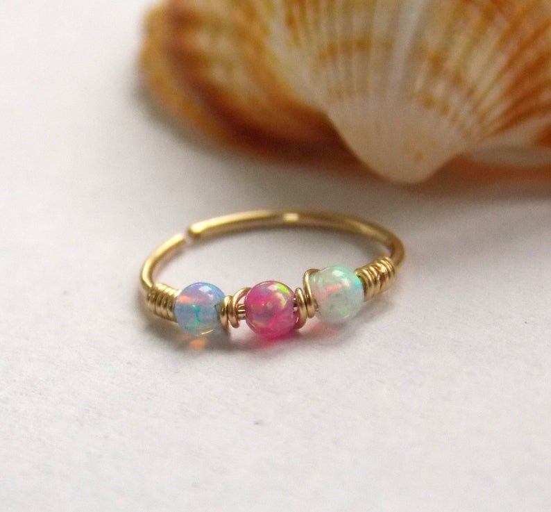 Photo of Small Nose Hoop  Nostril hoop  nose jewelry  nose piercing  OPAL beads  beaded n…