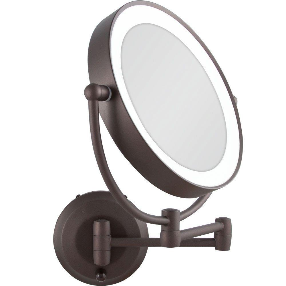 Wall mounted makeup mirror with light bronze httpbottomunion wall mounted makeup mirror with light bronze aloadofball Images