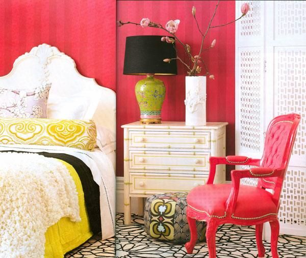 Gina Kates House Garden Striped Red Walls Red Tufted Chair White Headboard Yellow Black Home Decor Inspiration Home Decor