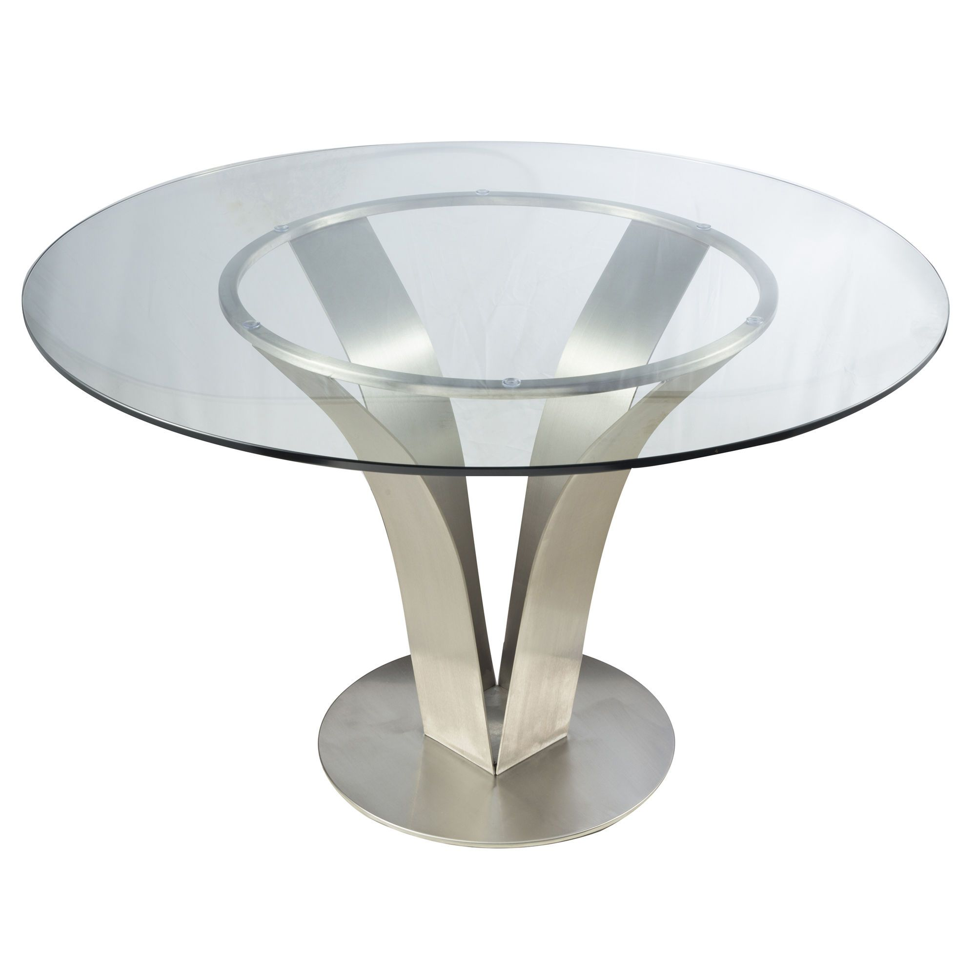 Perfect Cleo Contemporary Clear Glass Stainless Steel Round Dining Table