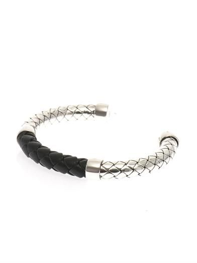 Bottega Veneta Intrecciato Silver And Leather Bracelet