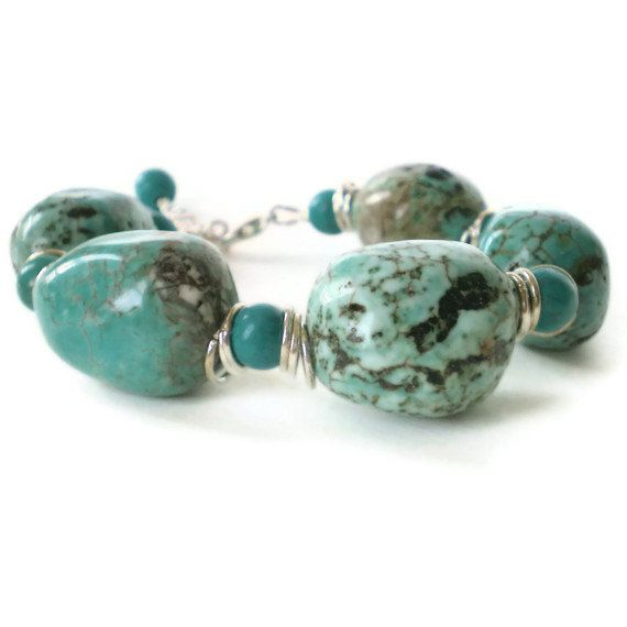 chunky turquoise bracelet turquoise gemstone chunks by jcudesigns, £12.50