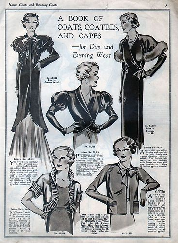 1930\'s Vintage BESTWAY Sewing Pattern Catalog - Evening Coats, Capes ...