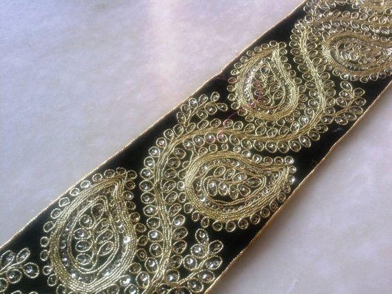 Black gold trim,Bollywood Embroidered Trim, Black trim, Fabric trim, Zari  Embroidered