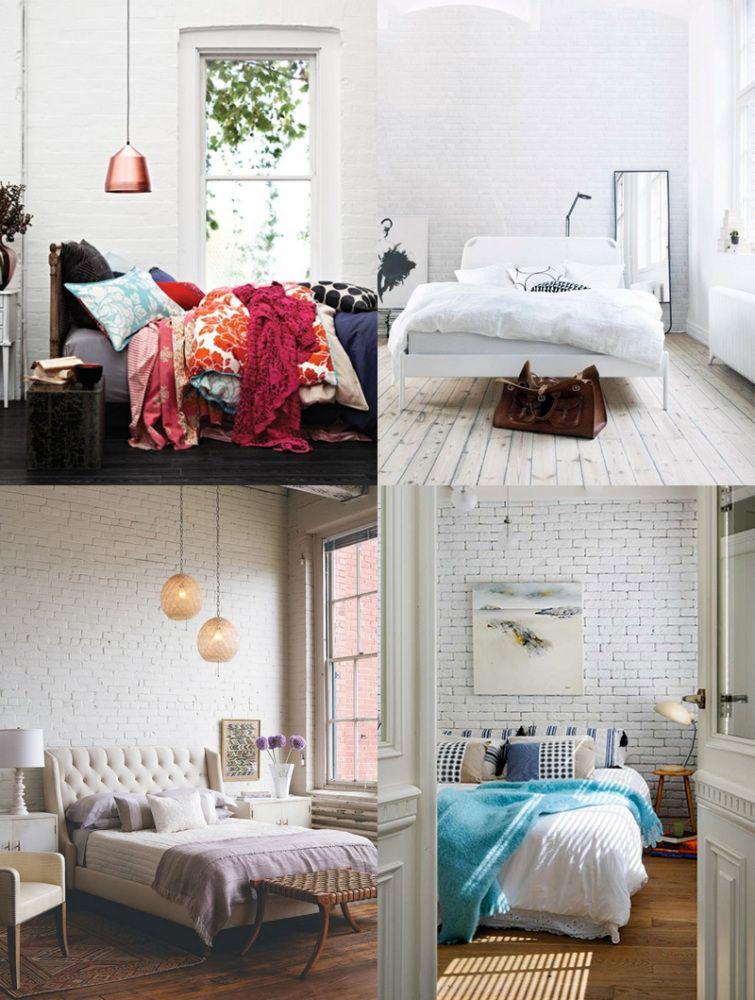 je craque pour une chambre en brique blanche via deco chambre pinterest. Black Bedroom Furniture Sets. Home Design Ideas