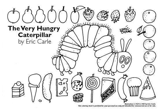 Ausmalbilder für Kinder - Raupe Lollis Obst Eiscreme Kchen ...