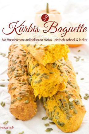 Kürbis Baguette mit Haselnüssen - Kürbis Brot ganz handlich!