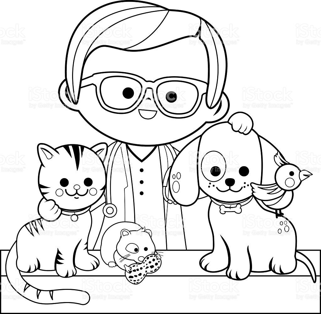 veterinarian and pets coloring book page stock vector more