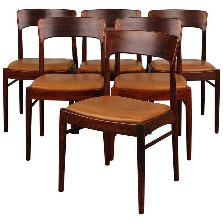set of 6 rosewood danish modern dining chairs | danish modern