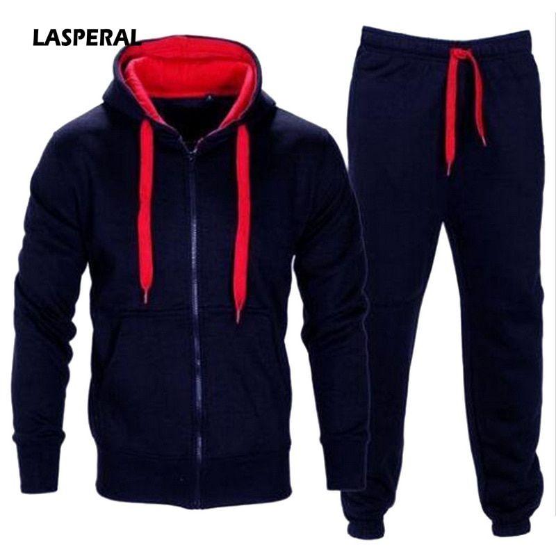 Cheap LASPERAL chándal hombre 2018 otoño Sportwear moda hombres conjunto  Unid 2 piezas cremallera Sudadera con 425a1cc7276