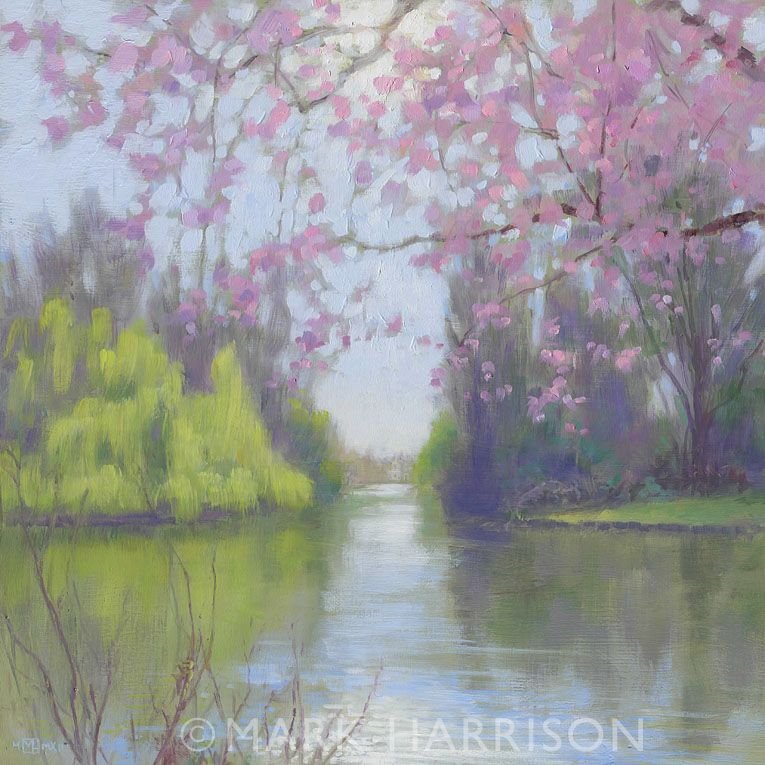 """Spring In St. James's Park"". Looking back towards Horse guards Parade from the end of the lake near Buckingham Palace. Oil on board."