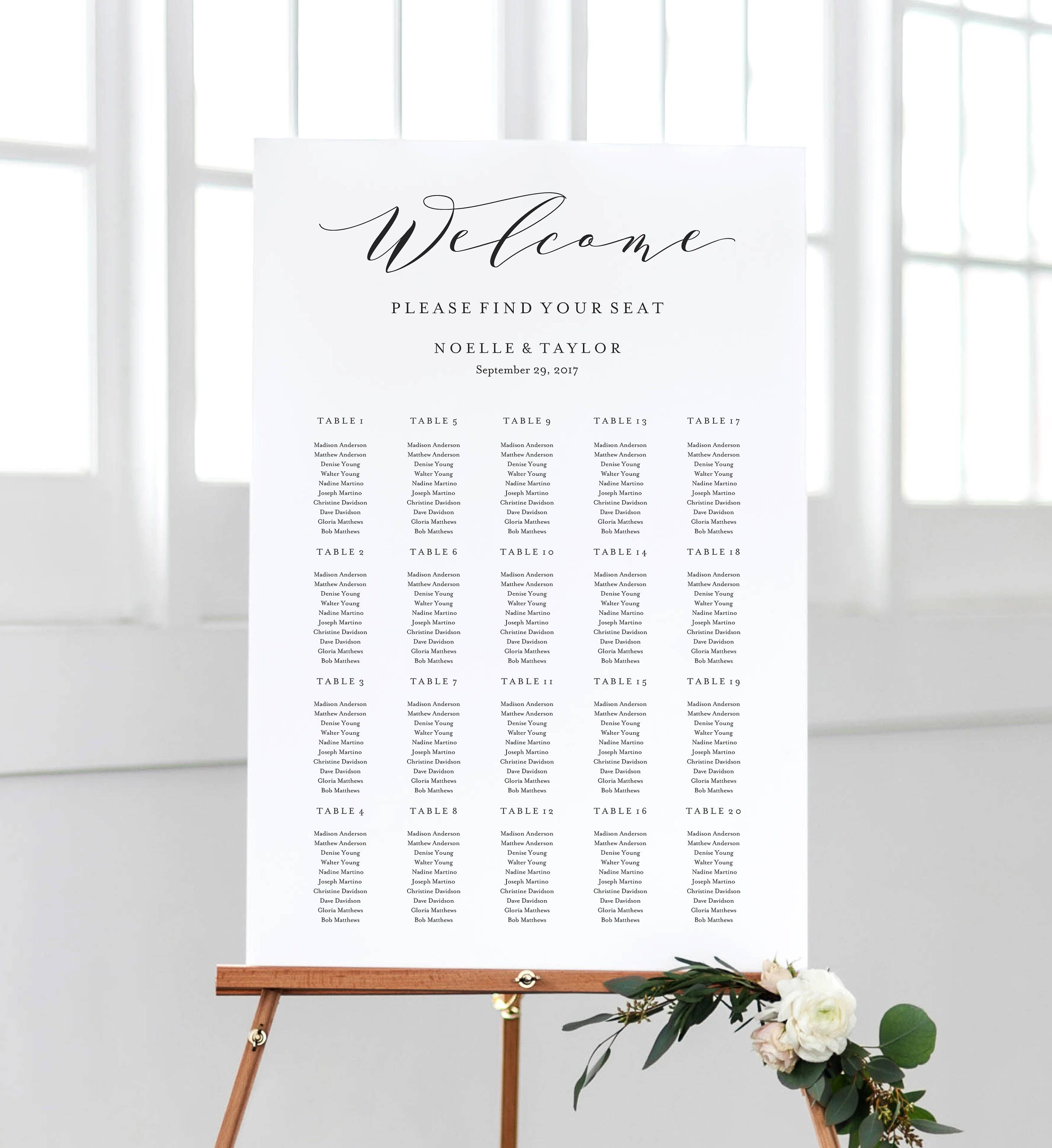 Editable Template - Instant Download Soft Calligraphy Guest Seating ...