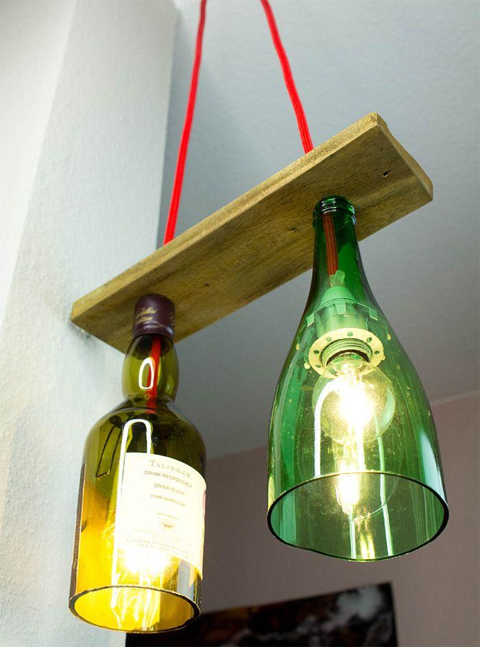 Deckenlampe Selber Bauen Anleitung : pendellampe aus flaschen mit paletteholz selber machen ~ Watch28wear.com Haus und Dekorationen