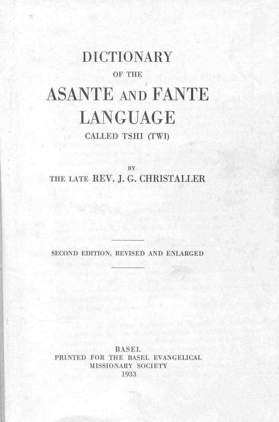 Christaller Dictionary Of The Akan Language Pdf 612 Pages Akan