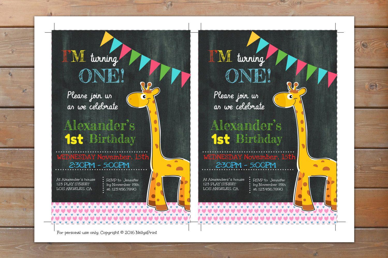 Giraffe Invitation, Giraffe Birthday Invitation, Giraffe Birthday ...