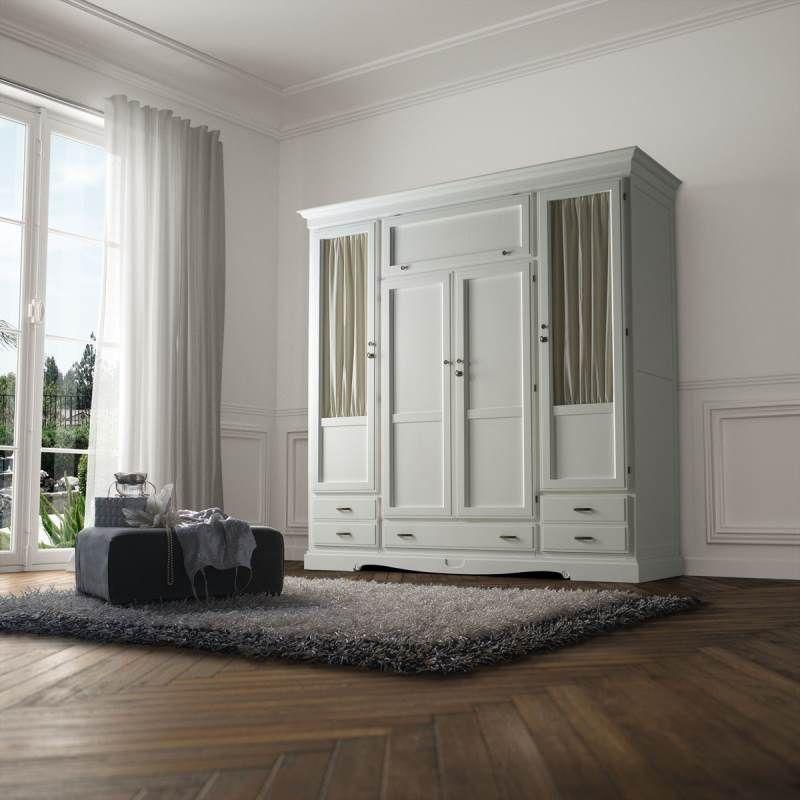 Armario fontana 4 puertas blanco tosca lacado armarios - Armario dormitorio blanco ...