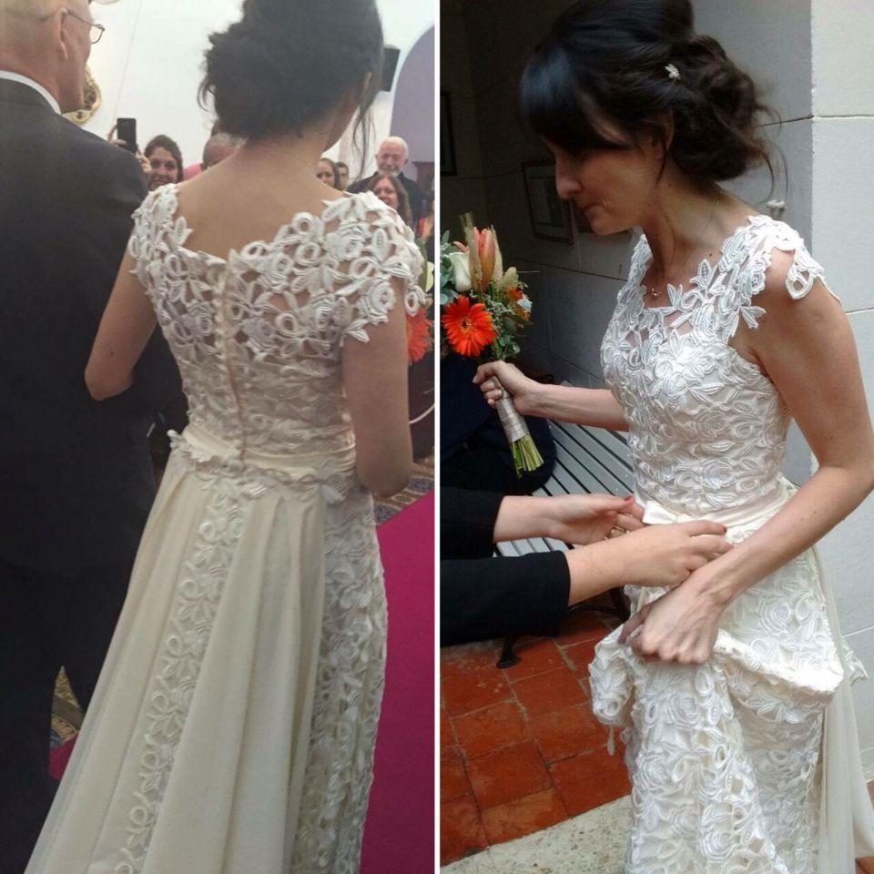 Vestido de novia weeding Drees guipiur calado blanco white