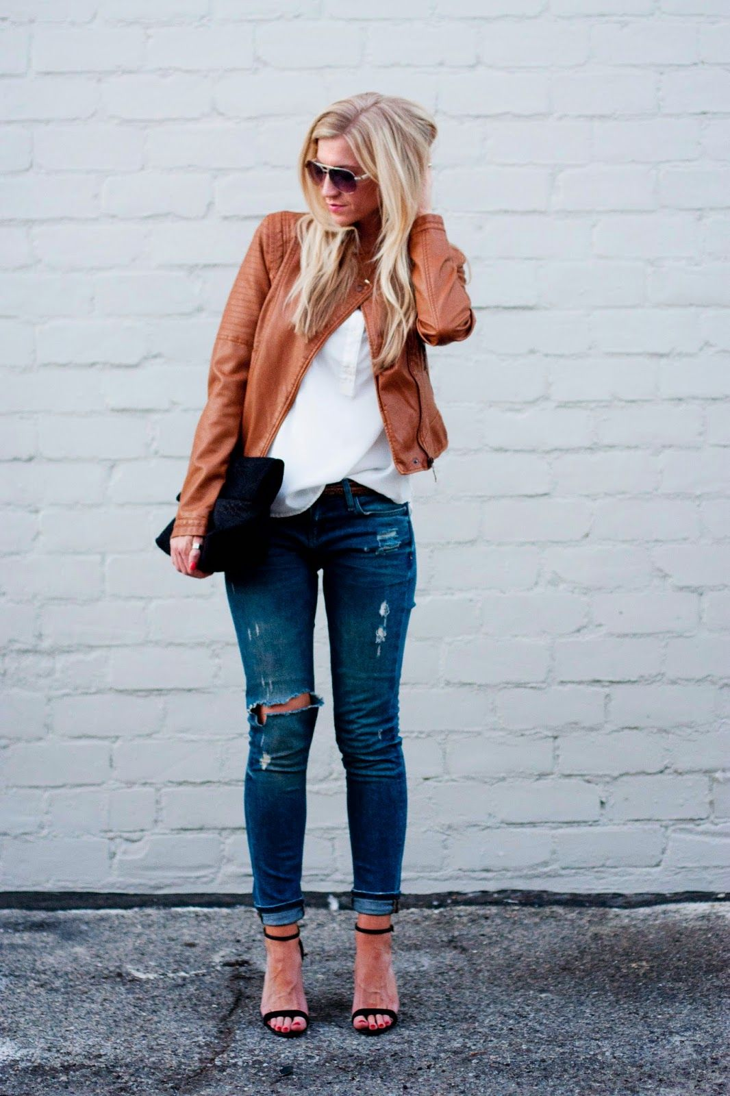 BLACK AND BROWN (Elle Apparel) Leather jacket outfits
