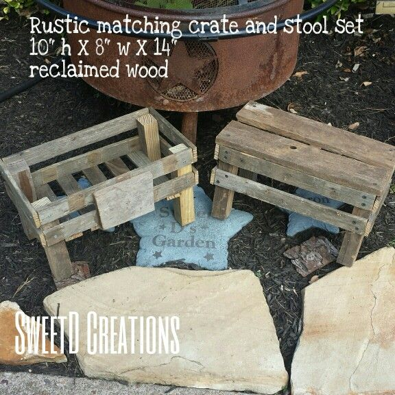 Rustic matching crate and stool set made with reclaimed wood by SweetD Creations