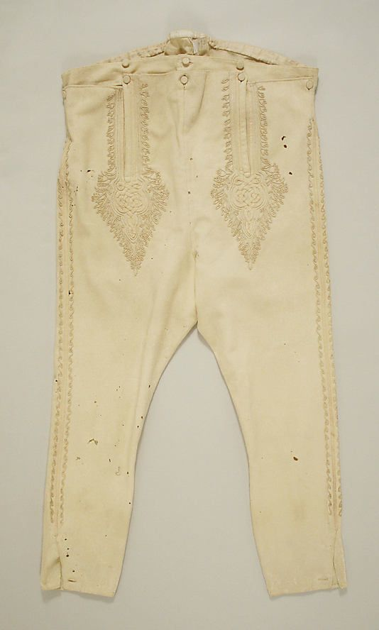 Military trousers Date: late 18th century Culture: Italian Medium: wool Dimensions: Length: 44 in. (111.8 cm) Credit Line: Rogers Fund, 1926 Accession Number: 26.56.41