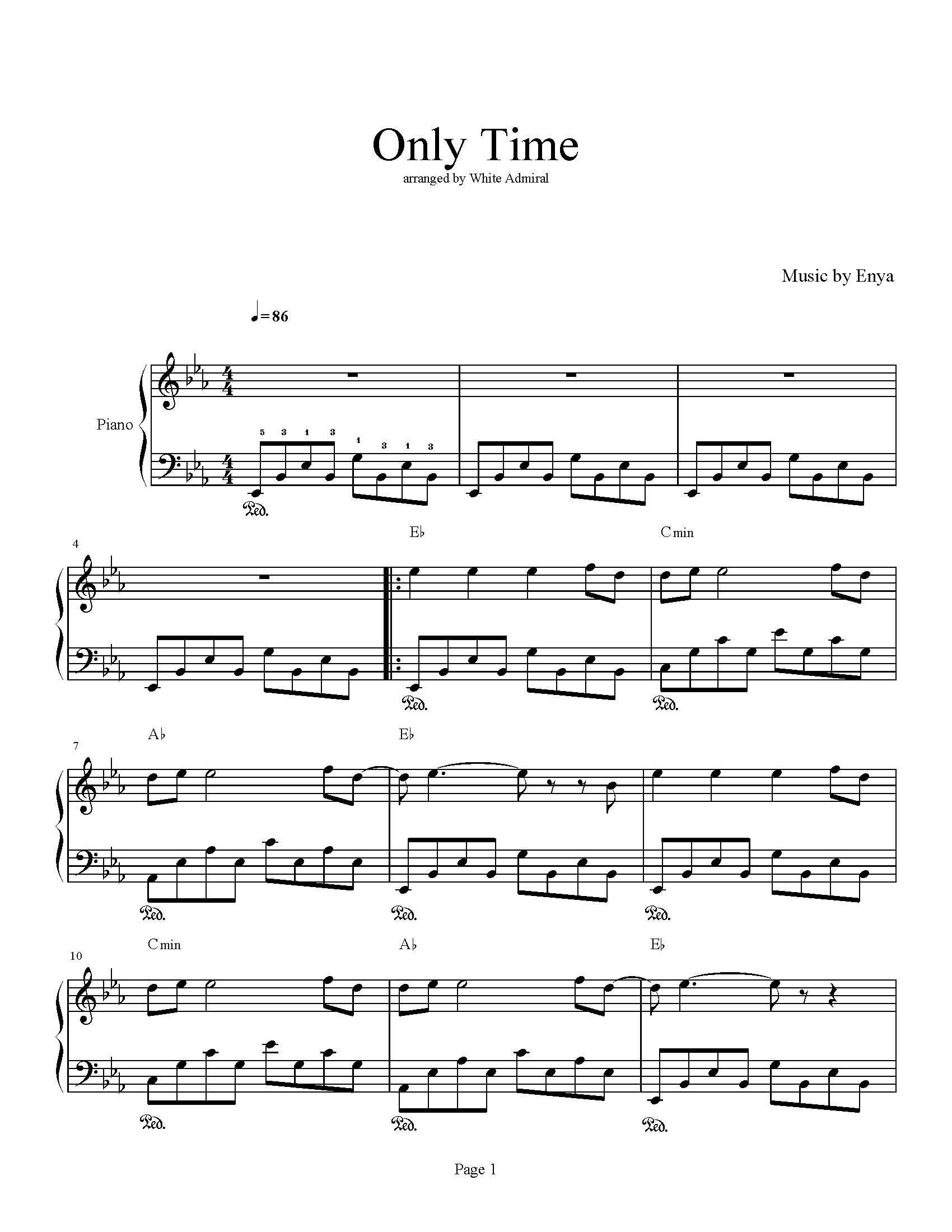 Only Time Enya Piano Plateau Sheet Music Sheet Music