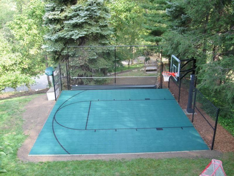 Half-Court Basketball Court   Backyard court, Basketball ...