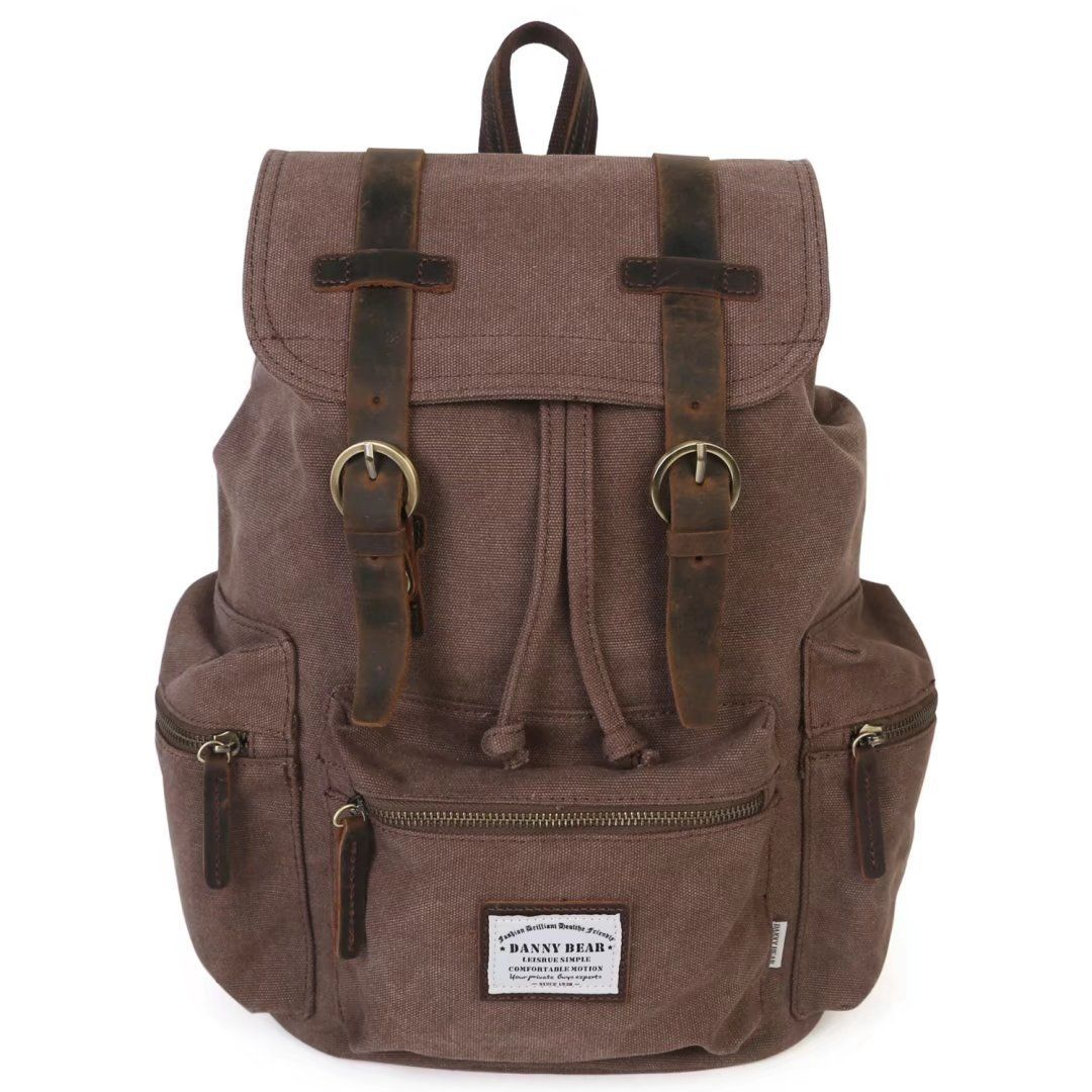 f7a7b2da08 DANNY BEAR Vintage Canvas Travel Hiking Backpack Laptop Rucksack Casual  Genuine Leather Daypack Shoulder School Bookbag