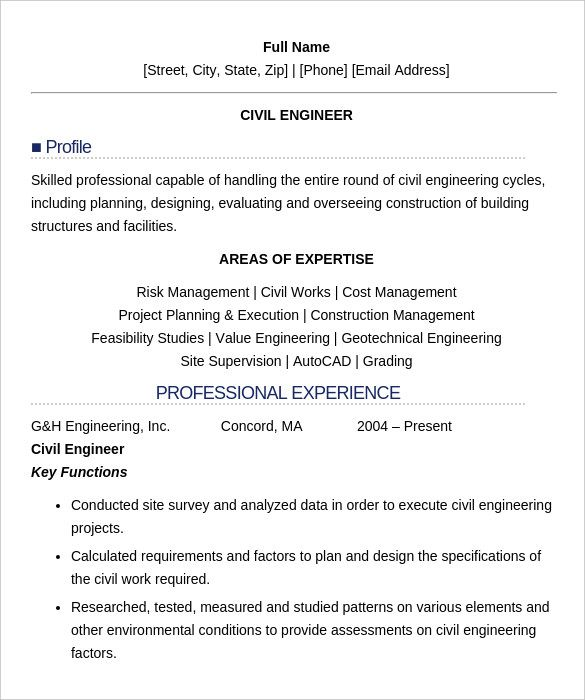 sample resume format for freshers engineers Civil Engineer Resume Templates   Free Samples, PSD, Example .