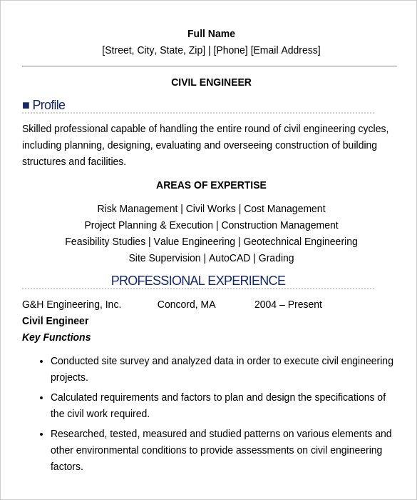 Pdf Doc Free Premium Templates Engineering Resume Civil Engineer Resume Professional Resume Samples