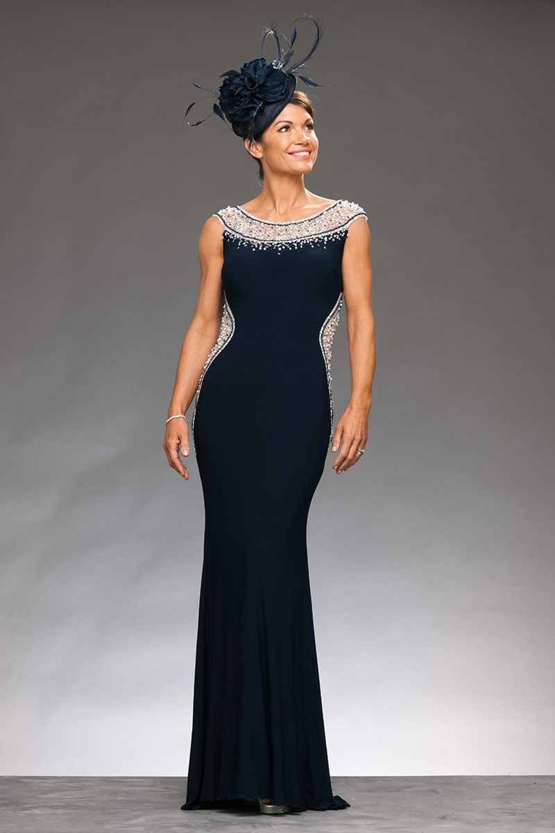 5f3b9db13c Full length jersey dress with beaded neckline and illusion cut out ...