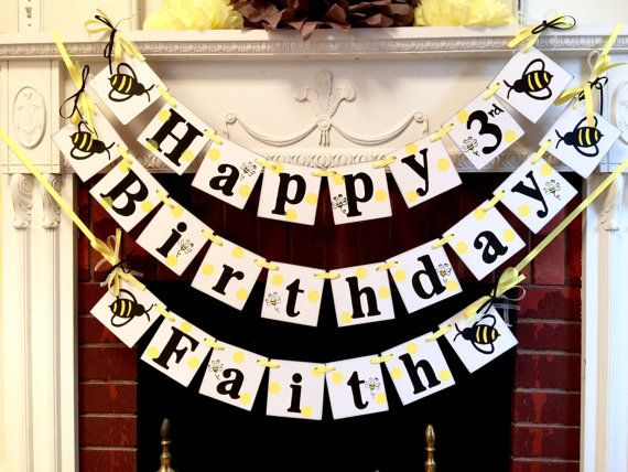 Bumble Bee Birthday Decorations Happy By Anyoccasionbanners
