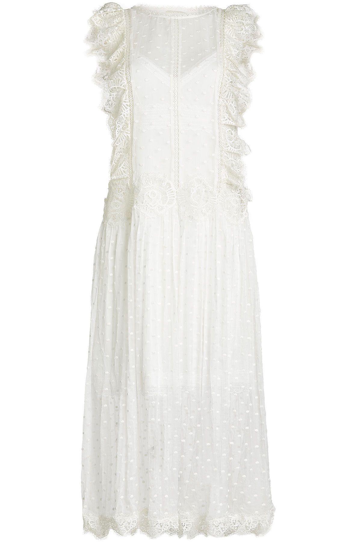 Zimmermann - Embroidered Silk Dress with Crochet