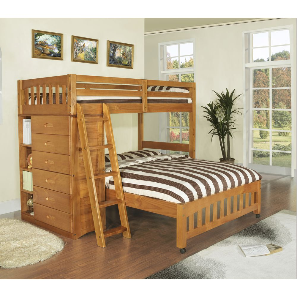 Kid Bedroom Sets Awesome Honey Stained Twinover Full Loft Bed With 6Drawer Chest 2018