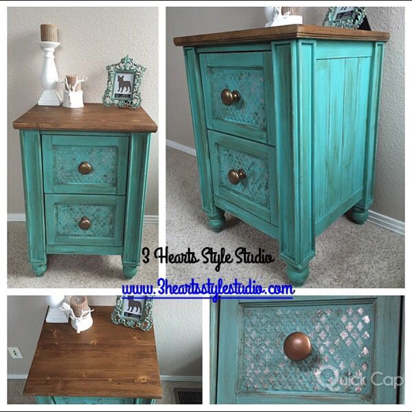 Teal| Turquoise| Side Table| Nightstand| Painted Furniture Denver and  Colorado Springs| - TealTurquoiseSide TableNightstandPainted Furniture Denver
