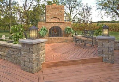 Pillars W Shorter Stone Wall Bench Around Fire Pit Deck Designs Backyard Patio Deck Designs Decks Backyard