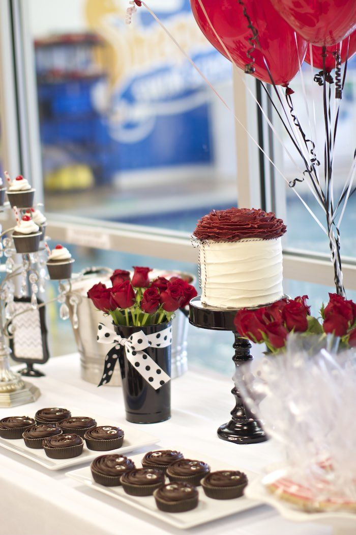 Black White Red Elegant Birthday Party Awesome Party
