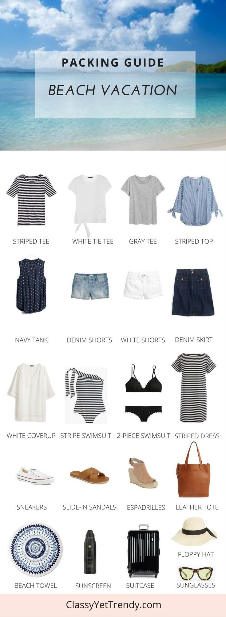 Idée et inspiration look d'été tendance 2017   Image   Description   See what to pack for Spring Break or a Summer Vacation, with this packing guide and a few outfit ideas! You may already have these in your capsule wardrobe / closet: denim shorts, white shorts, striped tee, gray tee,...