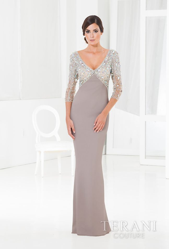 Sleek and sophisticated jersey empire waist gown with a v-neck and ...